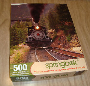 """The Georgetown Loop SPRINGBOK 500 Piece Jigsaw Puzzle 18x23"""" Sealed Bag Open Box"""