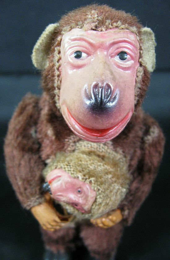 Antique Mohair Wind-Up Monkey Mother And Baby Japan