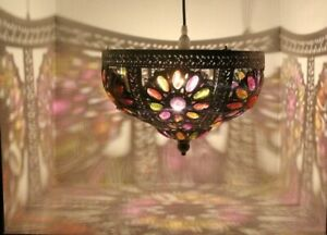 Moroccan-Style-Metal-Lampshade-Ceiling-Pendant-Light-Shade-Flower-Design