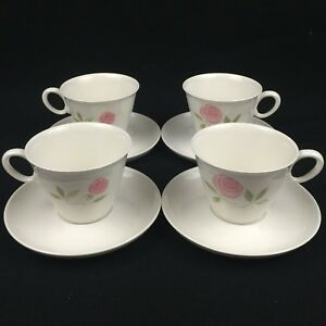 Set-of-4-VTG-Cups-and-Saucers-by-Franciscan-Pink-A-Dilly-Whitestone-Ware-Japan