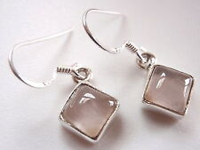 Small Rose Quartz Square 925 Sterling Silver Dangle Earrings Corona Sun
