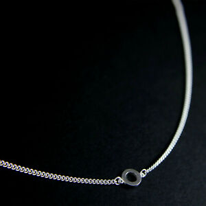 GENUINE-925-Sterling-Silver-Circle-Pendant-Curb-Chain-Choker-Necklace-UK-New