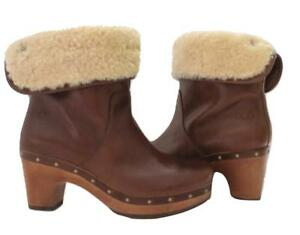 bd337ed543f Details about New Ugg Lynnea Short Leather Shearling Wood Clog Boots  Distressed Chestnut Brown