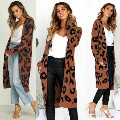 Womens Long Cardigan Coat Leopard Print Outdoor Overcoat Casual Loose Knitwear