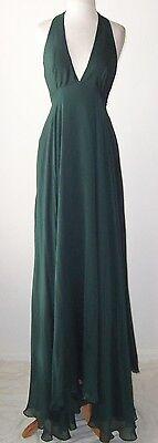 STELLA MCCARTNEY Emerald Green Silk Halter Open Back Dress Gown 44 8