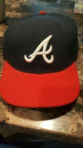 9c07ca76315 Atlanta-Braves New Era 59Fifty Authentic Navy   Red 7 1 4 Fitted Hat ...
