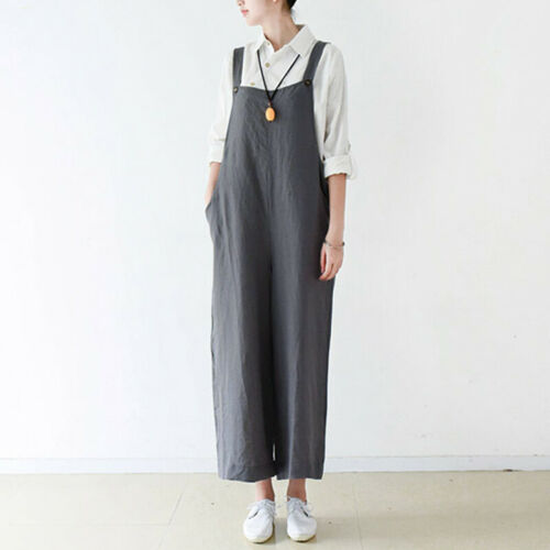 Women Bib Cargo Pants Casual Wide Legs Dungaree Overalls Coveralls Plus Size 5XL