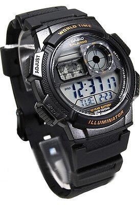 Casio AE-1000W-1A Rubber Digital World Time Mans Teens 100M Sports Alarm Watch
