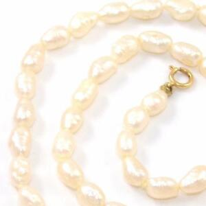 14K-Yellow-Gold-Natural-Pearl-Strand-Bead-Necklace-16-4mm-QX