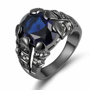 Size 8-11 Blue Sapphire Solitaire Black 18K Gold Filled Band Men Wedding Ring