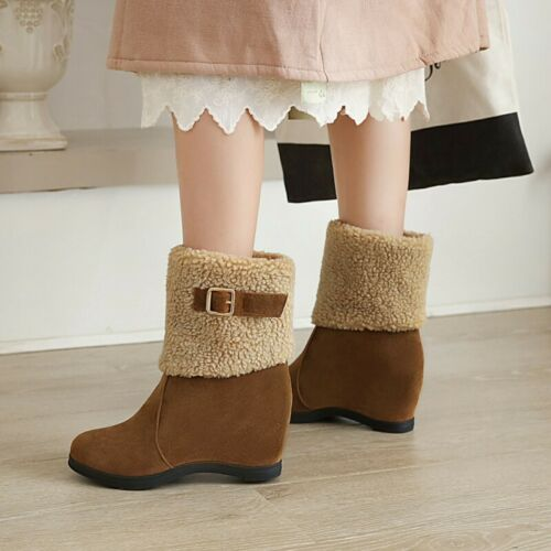 Details about  /Women Ladies Office Work Suede Fabric Wedge High Heel Fleece Lined Ankle Boots D