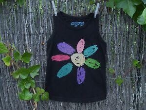 DESIGUAL-tbe-5-6-ans-adorable-haut-bretelles-noir-amp-motif-fleur-tons-pailletes
