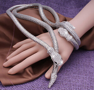 Ladies-Women-Silver-Snake-Sparkly-Crystal-Bracelet-Long-Necklace-For-Women