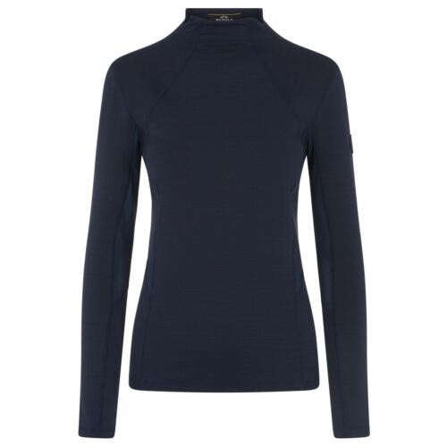 Country Polo Neck Sleeve Horse Top Lizzy Winter Long Riding Navy Hv Ladies Collared 8pddA