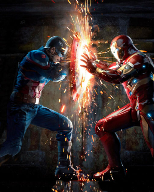 Poster 37x29 cm Marvel Captain Steve America Iron Man Tony Stark Civil War 01