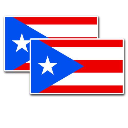 2pc Puerto Rico Flag PR Rican Sticker Vinyl Decal Set Hard Hat Motorcycle Helmet