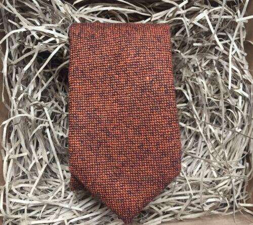 Corbata Naranja Quemado//Rusty Marrón Tweed Mens Corbata//Corbata salpicado de lana