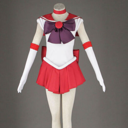 Newly Sailor Moon Sailor Mars Cosplay Costume Red Uniform Dress Satin Customized