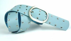 Herzhaft G3-16 Nietengürtel Gürtel Leder Nieten Blau 85 Cm Jeansgürtel Hosengürtel Neu Volumen Groß Damen-accessoires