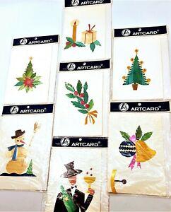 Vintage-Mid-Century-Hand-Made-Polish-Christmas-Cards-Set-of-7-Poland