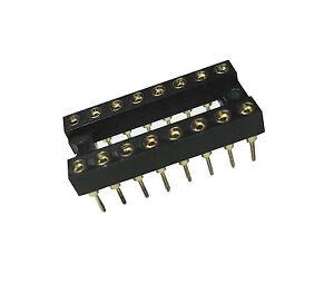 20 St. IC Sockel Fassung 16 polig Kontakte VERGOLDET 2,54 mm Raster
