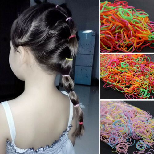 1000pcs Girl Ponytail Hair Holder Baby Thin Elastic Rubber Band Kids Hair Tie