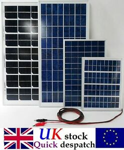 12v 5w 10w 20w 25w 30w 40w Solar Panel Charger W 4m Cable Diode Battery Clips Ebay