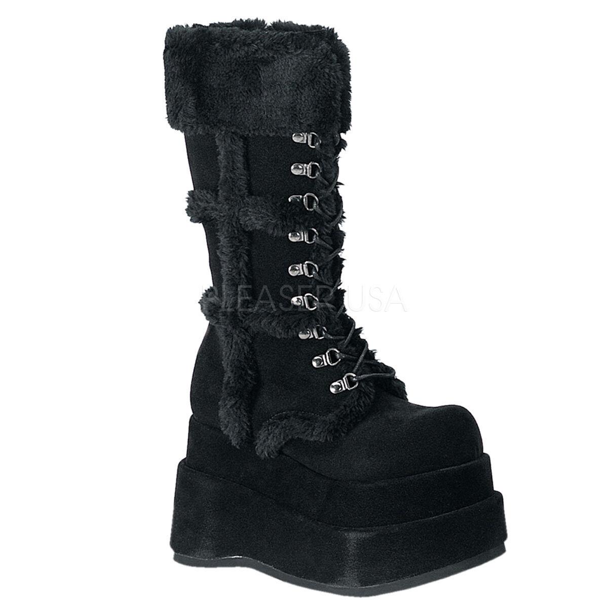 Demonia enorme 4.5  apilados de imitación de gamuza de plataforma Piel Negro botas difusa Goth 6-12