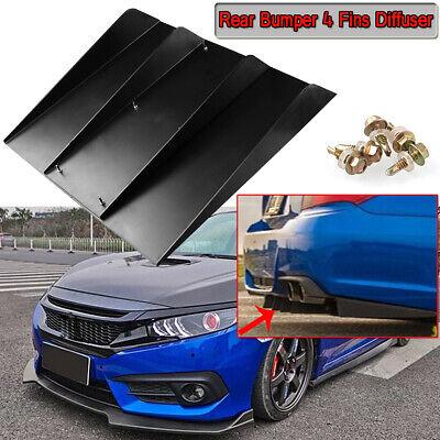 """22/"""" x 21/"""" ABS Universal Rear Bumper 4 Fins Diffuser Fin Black For Mitsubishi"""