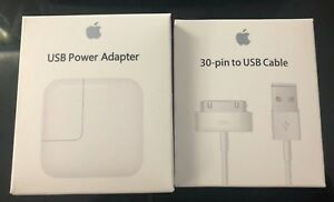 Original OEM 12w USB Adapter Wall Charger 30 Pin USB Cable for Apple iPad 1-3