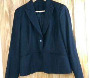 Austin Reed Ladies Black Striped Smart Formal Jacket Size Uk 14 100 Wool Ebay