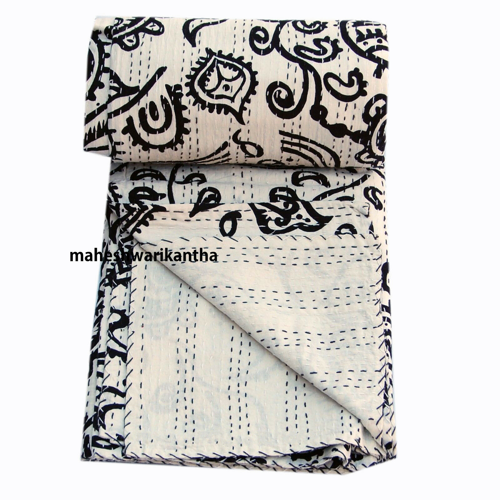 Indian Famous Vintage Throw Kantha Quilt Reversible Handmade Indian Gudri Rally