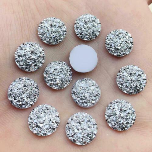 12mm AB Ore Round Flatback Resin Dotted Rhinestone Cabochon Gems for DIY