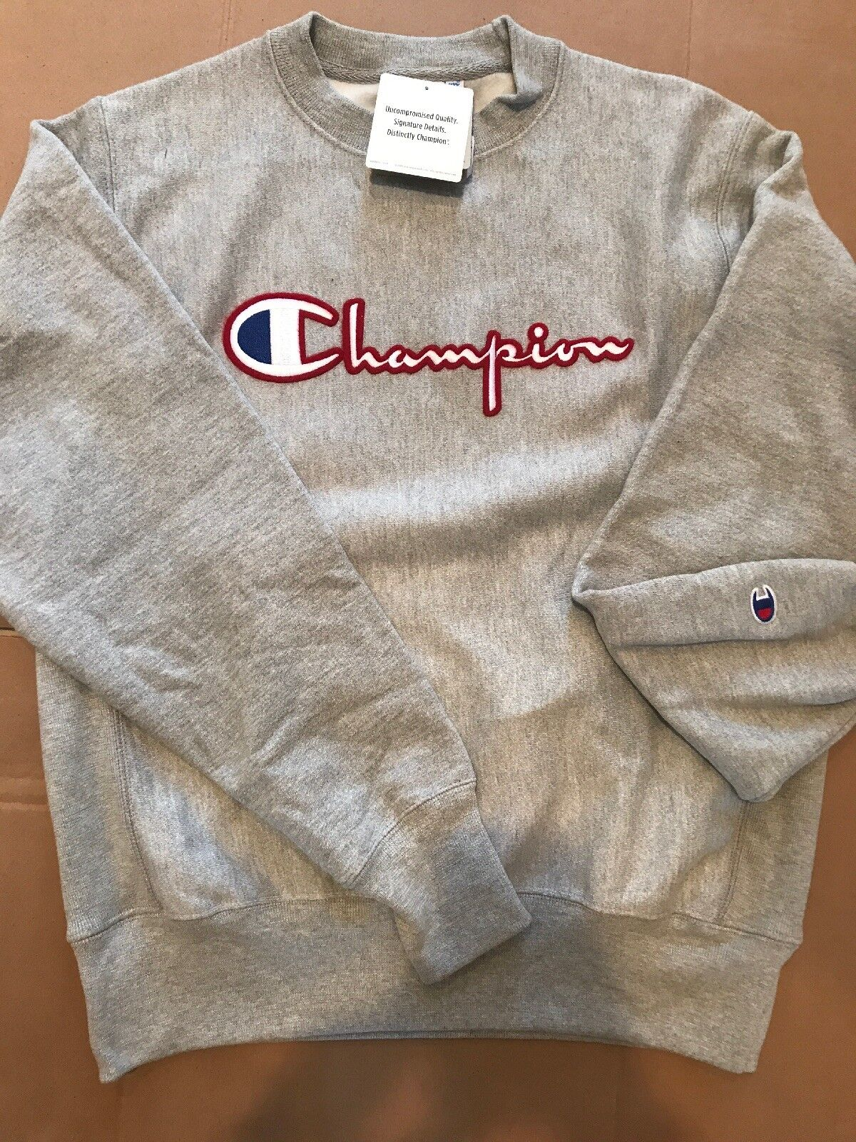Herren Champion Reverse Weave Pullover Sweatshirt -Grau Champion LOGO