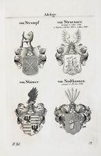 1837 4 Wappen von Strampf Struensee Stümer Sudthausen Kupferstich Tyroff