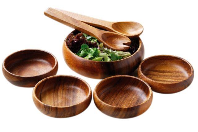 Amazing New 7 Piece Set Wooden Food Salad Serving Bowl, 4 Bowls & Servers New