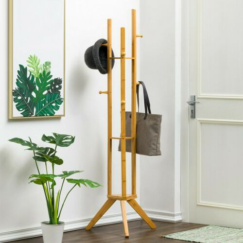 NEW Bamboo Coat Hat Rack Clothes Holder Hanger Tree-shaped Entryway w//Hook US