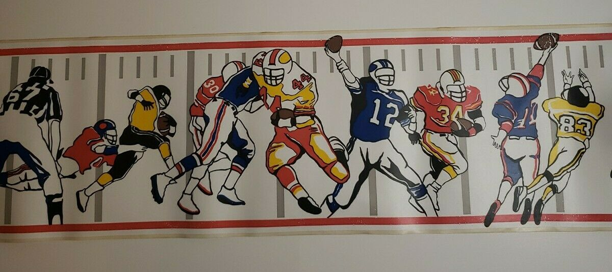 NEW Vintage Baseball Football Decoration Rare 1993 Borden Self Stick Borderlines Sports Wall Paper Room Border 5 YD