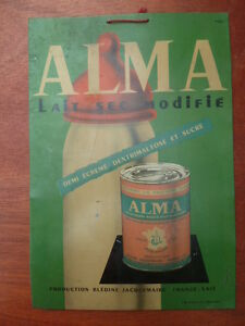 Antique-Plate-Sheet-Metal-Painted-Advertising-Alma-Pharmacy-Years-1950