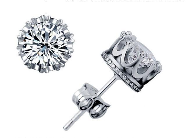 Jewellery Lady's 925 silver Cubic Zirconia Diamonique Crown Set Stud Earrings