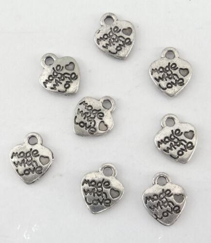 perles,fimo-bc112 Lot de 14 BRELOQUES COEUR COULEUR ARGENTÉ VIEILLI