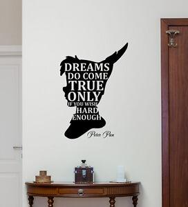 Peter Pan Quote Wall Decal Disney Vinyl Sticker Decor Dreams Kids ...