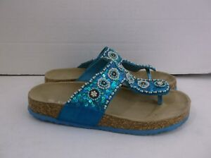 8870f0322555 Image is loading ECSA-Blue-Filp-Flops-Sandals-Beaded-size-6