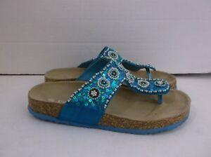2c505f5ec63b1 Image is loading ECSA-Blue-Filp-Flops-Sandals-Beaded-size-6