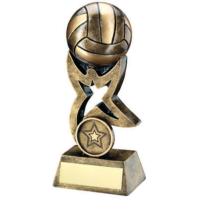 Gold Star 3D Volleyball Trophy Antique Gold Award FREE engraving 3 sizes RF262