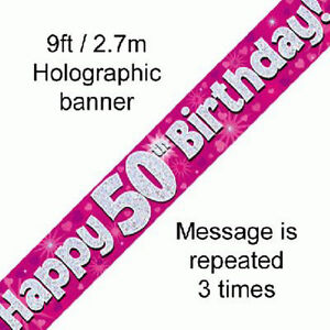 Image Is Loading Female Happy 50th Birthday Party Foil Banner 50