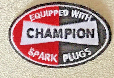 NEW 2 X 3 7//8 INCH CHAMPION SPARK PLUGS IRON ON PATCH FREE SHIPPING