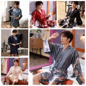 Herren Kunstseide Schlafanzüge Kimono Bademantel Langärmlig Nachtwäsche
