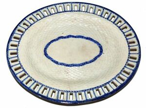 Antique-Pearlware-Reticulated-Oval-Pottery-Serving-Platter-Blue-White-Unmarked