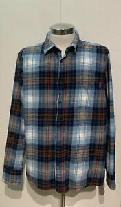Eddie-Bauer-Men-039-s-XXL-Cotton-Flannel-Relaxed-Fit-Button-Up-Long-Sleeve-Shirt